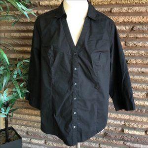 Lane Bryant Black Button Front Cotton Blend Shirt